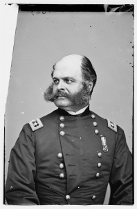 Ambrose Burnside. The Battle of the Crater provided a good reason to get him out of the Army of the Potomac once and for all (Library of Congress).