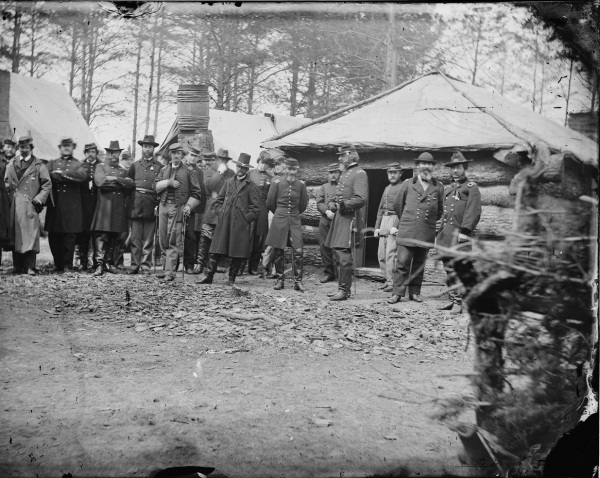 General Meade and General Sedgwick visit the Horse Artillery headquarters at Brandy Station. The Army of the Potomac established its winter quarters at Brandy Station in 1863 and remained there until the start of the Overland Campaign the next May.