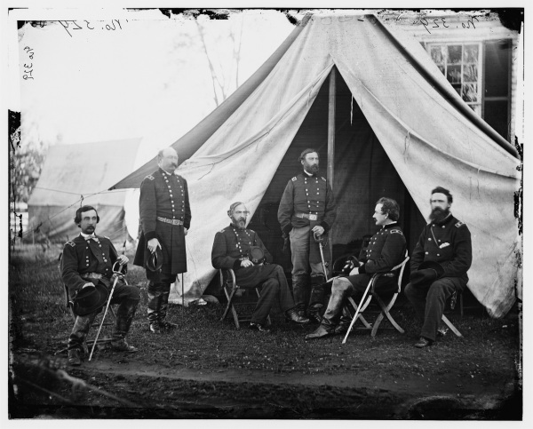 Meade and his corps commanders. Gouverneur Warren (II Corps) is seated at left; William French (III Corps) stands next to Warren. Then, left to right, are Meade, artillery chief Henry Hunt, and chief of staff Andrew Humphreys (Library of Congress).