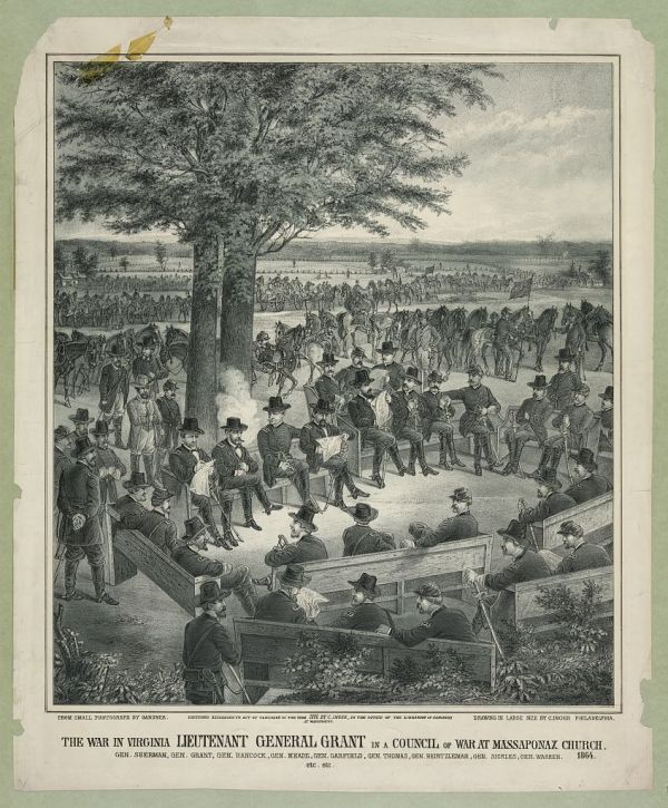 Here's an artist's conception of that scene. He has allowed his imagination some free play. If you read the caption to the print, you'll also see that has added the presence of generals who were nowhere near--not only Hancock, who had moved with the II Corps ahead of the army, but also General Sherman, who was making his way through Georgia at the time, and General Sickles.