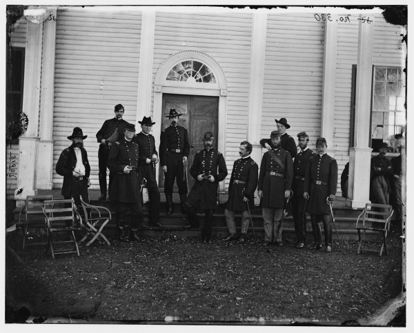 Meade and his staff pose for a photo  in Culpeper in September 1863 ((Library of Congress).