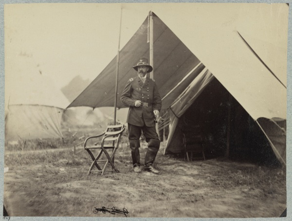 Matthew Brady took this photograph of Meade at Cold Harbor on June 12, 1864. (Library of Congress).