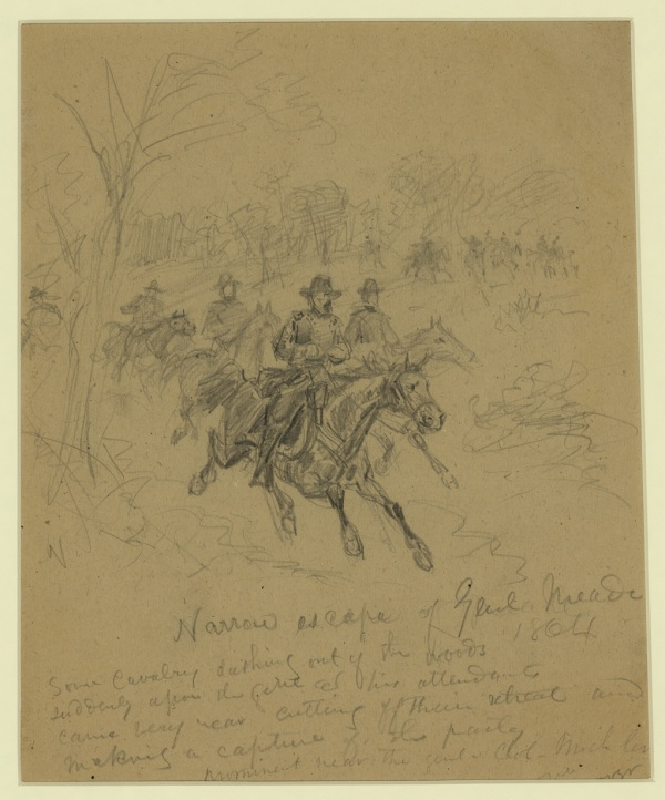 Artist Alfred Waud made a sketch of Meade's near capture by the Confederates on May 14 (Library of Congress).