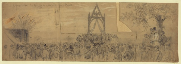 Alfred Waud's sketch of the ceremony on August 27, 1863, when the Pennsylvania Reserves  presented Meade with a ceremonial sword to honor their former commander (Library of Congress).