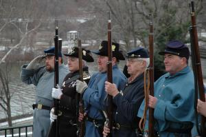 Living historians prepare to fire a salute at Meade's gravesite.