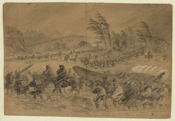"Alfred Waud sketched the Army of the Potomac on the disastrous ""Mud March"" in January 1863."