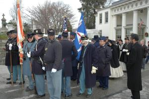 The procession forms up at the Laurel Hill Cemetery gatehouse for the march down to Meade's grave.