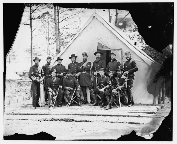Major General George Stoneman and his staff, photographed in Falmouth, Virginia, sometime in February 1863.