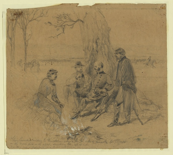 "This illustration by Arthur Lumley shows Ambrose Burnside talking with William Franklin about evacuating his position following the debacle at Fredericksburg. At the bottom Lumley wrote, ""Franklin corps in the distance and Rebel batteries on the mountains."" (Library of Congress.)"