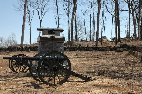 Monuments on Powers HIll. Battery M, 1st New York Light Artillery, is in the foreground, then Battery E, Pennsylvania Light Artillery (Knap's Battery) and Battery A, 1st Maryland Light Artillery (Rigby's Battery).