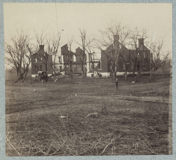 The ruins of the Chancellorsville house as they appeared in 1865 (Library of Congress).