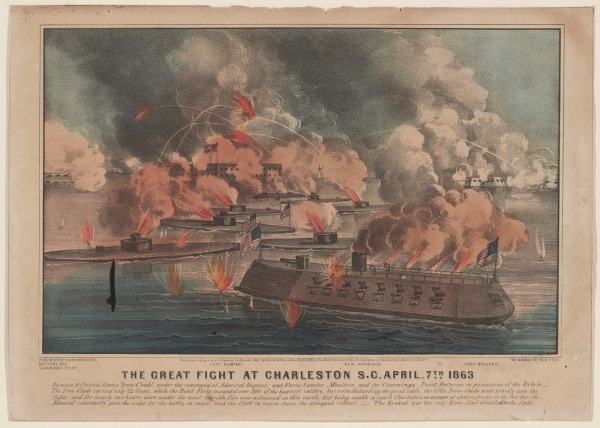 A Currier & Ives print of Samuel DuPont's failed April 7 attack on Charleston, South Carolina (Library of Congress).