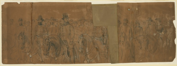 On April 9, 1863, Alfred Waud sketched President Lincoln as he and various Union generals reviewed the Army of the Potomac. Someone has clipped off Joe Hooker's head. Click on the image for a larger version (Library of Congress).