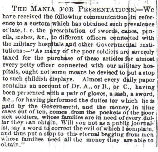 Meade really did not need to worry about this article. It was complaining about the presentations of swords to doctors, not to soldiers.