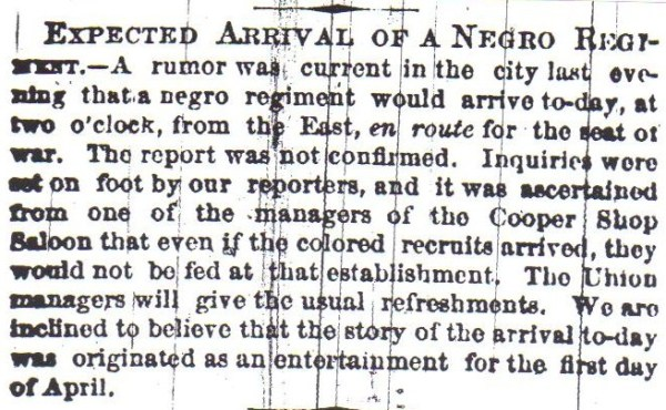 This is the news items that appeared directly above the one about Meade's sword in the Philadelphia Inquirer on April 1, 1863.