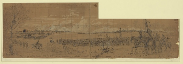 """The troops on the center 3rd & 5th Corps repelling a rebel assalt [sic]--Sunday May 3rd 1863"" by Alfred Waud (Library of Congress)."