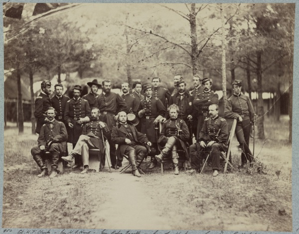 Joseph Hooker and his staff, photographed in Falmouth in June 1863. That's Daniel Butterfield seated to Hooker's left (Library of Congress).
