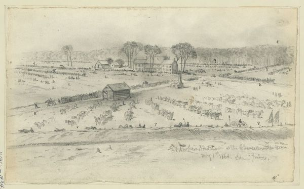 Edwin Forbes drew this sketch of the Chancellorsville house, where Hooker had his headquarters during the battle. He was on the front porch when a cannonball hit the house, striking Hooker with debris. The general although knocked unconscious and probably severely concussed, retained command after awakening. (Library of Congress)