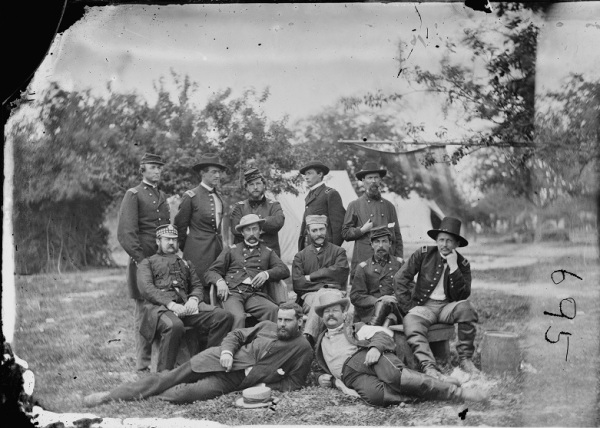 """Lord Abinger (William F. Scarlett, 3d Baron Abinger, Lt. Col. Scots Fusilier Guards) and group at headquarters, Army of the Potomac"" (Library of Congress)."