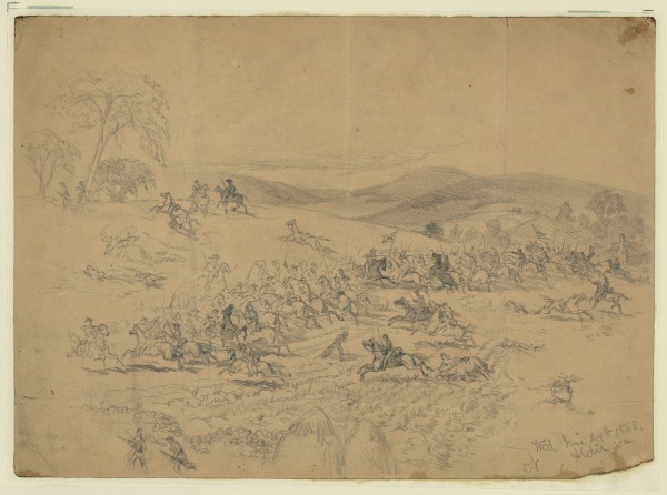 "Artist Edwin Forbe titled this drawing, which he dated June 24, 1863, ""Cavalry fight near Aldie, Va. During the march to Gettysburg; the Union Cavalry; commanded by Gen. Pleasonton, the Confederate by J.E.B. Stuart."" (Library of Congress)"
