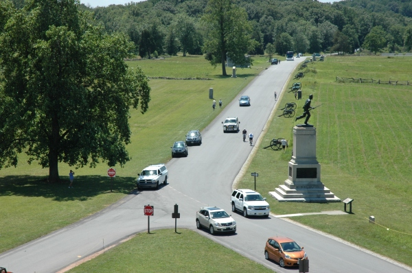 The view from the Pennsylvania State Monument, looking towards the 1st MN monument.
