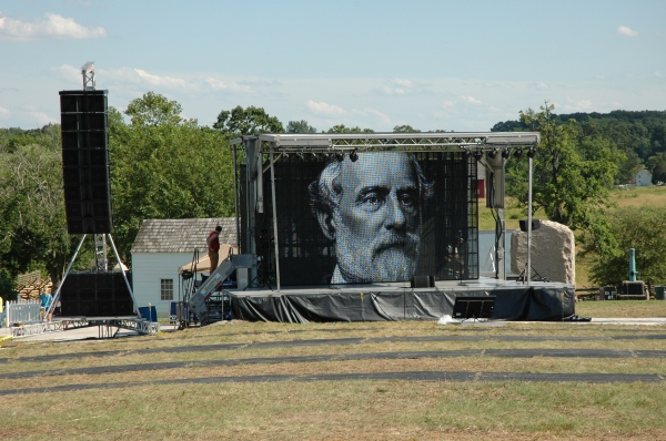Who is that? A portrait of Robert E. Lee is projected on a huge screen set up just north of Meade's headquarters.