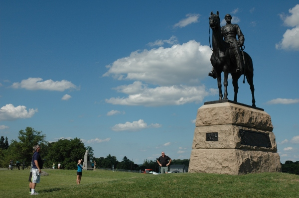 Visitors admire the victor of Gettysburg.