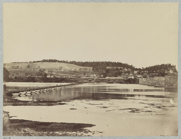 This photo of a pontoon bridge over the Potomac River was taken in October 1862, when George McClellan began his pursuit of Lee after Antietam (Library of Congress).