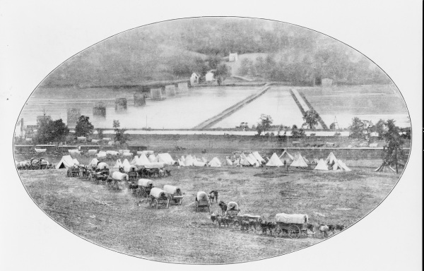 "The magazine that eventually published this Matthew Brady photograph of the Army of the Potomac's crossing at Berlin, Maryland (now Brunswick) called it ""Leisurely Pursuit"" (Library of Congress)."