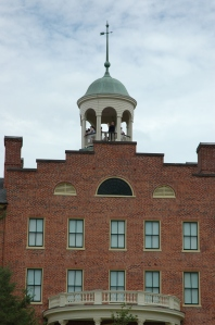 Visitors peer out from the cupola atop the Seminary Ridge Museum.