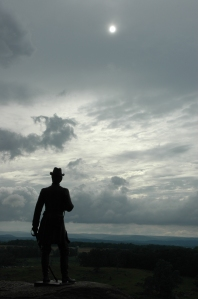 Ever vigilant, Gouverneur K. Warren stands guard on Little Round Top.