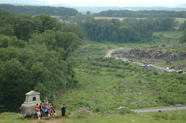 Little Round Top on the late afternoon of July 2, 2013. One hundred and fifty years ago there would have been fewer tourists; more death and destruction.
