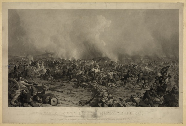 An engraving of Peter Rothermel's 1870 depiction of the fighting on July 3. This shows the climactic struggle at the Angle. Meade appears to the left. When he saw the original painting, Meade complained about the historical inaccuracy of having him on the front lines as his army was repulsing Pickett's charge. Rothermel defended the artistic license Library of Congress).