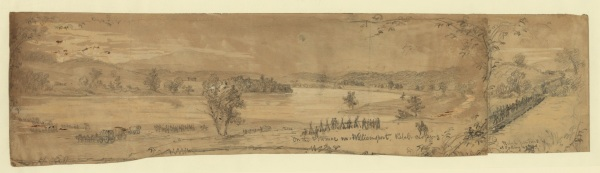 "A drawing by Alfred Waud, labeled, ""On the Potomac nr. Williamsport. Rebel crossing ; Rebel Pontoons at Falling Waters"" (Library of Congress)."