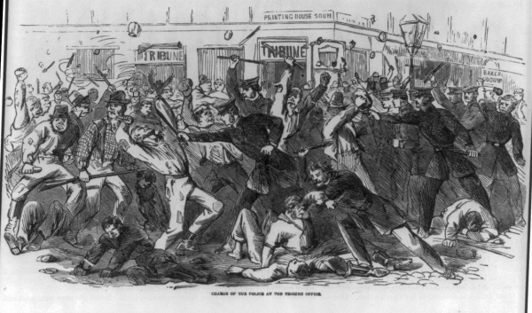 A depiction of the New York draft riots from the harpers Pictorial History of the Civil War. The worst atrocities were committed against blacks (Library of Congress).