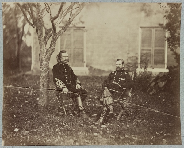 George Armstrong Custer and Alfred Pleasonton, photographed in Warrenton, VA, in October 1863 (Library of Congress).