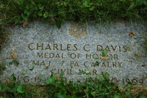The only Medal of Honor recipient buried here, Charles C. Davis earned his honors with the 7th PA Cavalry at the Battle of Shelbyville.