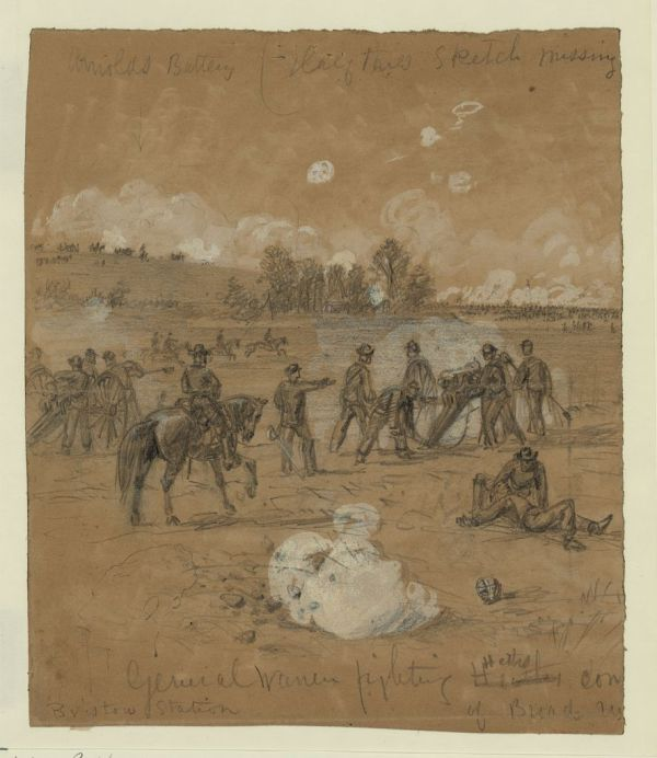 "Alfred Ward titled this drawing ""General Warren fighting at Bristoe Station."" Warren and the II Corps gave the Confederates a bloody nose during the battle on October 14, 1863 (Library of Congress)."