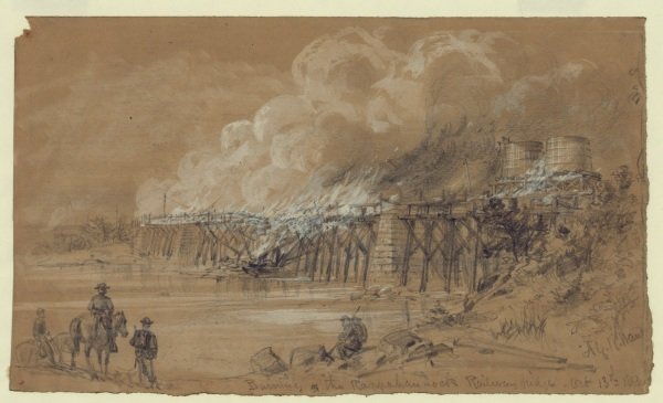 Artist Alfred Waud drew Union soldiers burning the railroad bridge at Rappahannock Station on October 13 as the Army of the Potomac fell back to keep from being outflanked (Library of Congress). Click to enlarge.