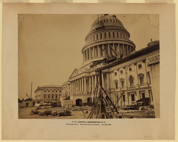 The United States Capitol as it appeared on June 28, 1863, coincidentally, the day that Meade received command of the Army of the Potomac. William Franklin, under whom Meade had served at Fredericksburg, had been the engineer in charge of the new dome construction before the war (Library of Congress).