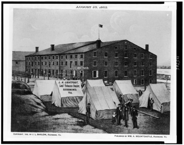 A view of Richmond's Libby Prison as it looked in August 1863 (Library of Congress).