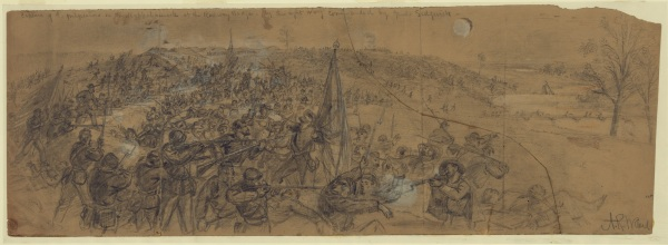 "Artist Alfred Waud called this drawing ""Capture of the fortifications on the Rappahannock at the Railway Bridge--by the right wing commanded by Genl. Sedgwick"" (Library of Congress). Click to enlarge."