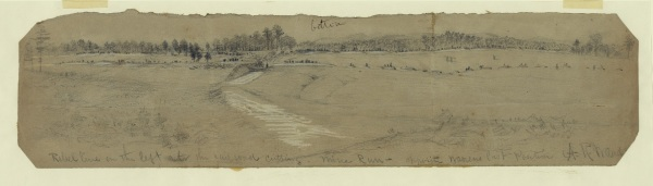 "Alfred Waud titled this sketch ""Rebel line on the left at the railroad cutting. Mine Run--opposite Warrens last position."" Warren and then Meade both decided that Lee's entrenched position was too strong to attack. Click to enlarge (Library of Congress)."