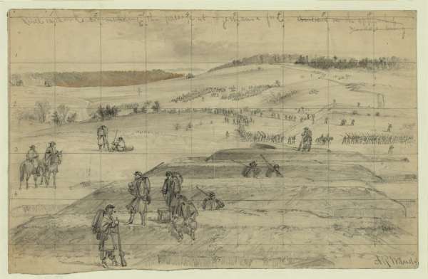 "Artist Alfred Waud labeled this sketch ""Rebel earthworks commanding the passage at Germanna ford, abandoned on the approach of Meade's army"" (Library of Congress)."