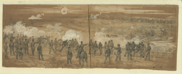 Alfred Waud drew Sleeper's Battery at work during the November 7 battle at Kelly's Ford, part of William French's diversionary attack during the Battle of Rappahannock Station (Library of Congress; click to enlarge).
