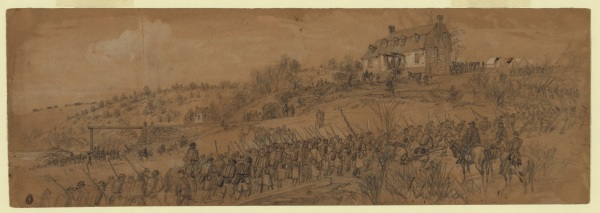 """Scene at Germanna Ford--6th Corps returning from Mine Run"" by Alfred Waud (Library of Congress)."