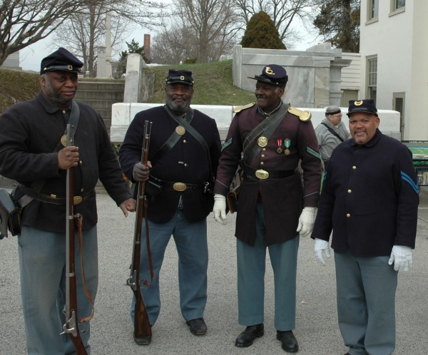 Living historians represent members of the United States Colored Troops.