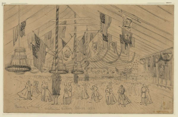 Artist Edwin Forbes sketched the 2nd Corps ball, held in honor of Washington's Birthday, 1864. Click to enlarge (Library of Congress).