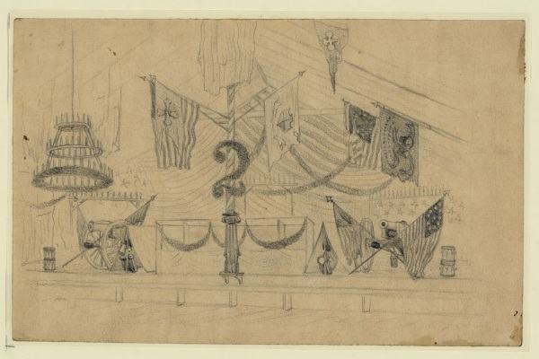 Edwin Forbes sketched the stand where the band played at the 2nd Corps' ball. Click to enlarge (Library of Congress).