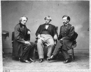 Joseph Holt (center) was one of the guests at Secretary of the Interior Usher's dinner party (Library of Congress).